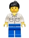 Minifig No: trn005  Name: Shirt with 2 Pockets, Blue Legs, Black Ponytail Hair