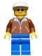 Minifig No: trn022  Name: Jacket Brown - Blue Legs, White Cap