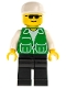 Minifig No: trn030  Name: Jacket Green with 2 Large Pockets - Black Legs, White Cap