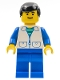 Minifig No: trn031  Name: Suit with 2 Pockets White - Blue Legs, Black Male Hair