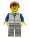 Minifig No: trn033  Name: Suit with 2 Pockets White - Light Gray Legs, Brown Male Hair