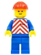 Minifig No: trn049  Name: Red & White Stripes - Blue Legs, Red Construction Helmet