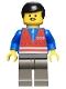 Minifig No: trn052  Name: Red Vest and Zipper - Dark Gray Legs, Black Male Hair