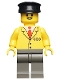 Minifig No: trn059  Name: Railway Employee 5, Dark Gray Legs, Black Hat