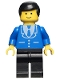 Minifig No: trn069  Name: Suit with 3 Buttons Blue - Black Legs, Black Male Hair