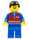 Minifig No: trn072  Name: Red Vest and Zipper - Blue Legs, Black Male Hair