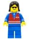 Minifig No: trn073  Name: Red Vest and Zipper - Blue Legs, Black Female Hair