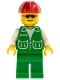 Minifig No: trn074  Name: Jacket Green with 2 Large Pockets - Green Legs, Red Construction Helmet