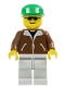 Minifig No: trn107  Name: Jacket Brown - Light Gray Legs, Green Cap, Black Sunglasses