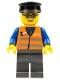 Minifig No: trn120  Name: Orange Vest with Safety Stripes - Dark Bluish Gray Legs, Glasses, Black Hat
