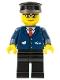 Minifig No: trn128  Name: Dark Blue Suit with Train Logo, Black Legs, Brown Eyebrows, Black Hat