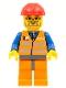 Minifig No: trn143  Name: Orange Vest with Safety Stripes - Orange Legs and Dark Bluish Gray Hips, Red Construction Helmet, Dark Bluish Gray Beard, Glasses