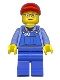 Minifig No: trn227a  Name: Overalls with Tools in Pocket, Blue Legs, Red Short Bill Cap, Glasses with Red Thin Eyebrows