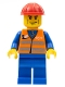 Minifig No: trn231  Name: Orange Vest with Safety Stripes - Blue Legs, Brown Eyebrows and Cheek Lines, Red Construction Helmet