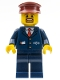 Minifig No: trn237  Name: Dark Blue Suit with Train Logo, Dark Blue Legs, Dark Red Hat, Brown Moustache and Goatee