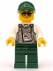 Minifig No: trn243  Name: Security Officer - Dark Green Legs, Dark Green Cap with Hole, Sunglasses