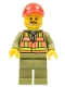 Minifig No: trn244  Name: Train Driver - Orange Safety Vest with Lime Straps, Olive Green Legs, Red Cap with Hole, Beard Dark Tan Angular
