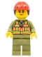Minifig No: trn246  Name: Train Worker - Female, Orange Safety Vest with Lime Straps, Olive Green Legs, Red Construction Helmet with Ponytail