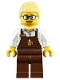 Minifig No: trn249  Name: Female with Reddish Brown Apron with Cup and Name Tag Pattern, Bright Light Yellow Hair Female Large High Bun, Glasses