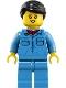 Minifig No: trn253  Name: Train Worker - Female, Black Hair, Medium Blue Shirt with Red Bandana, Medium Blue Legs