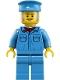 Minifig No: trn254  Name: Train Worker - Male, Medium Blue Hat, Medium Blue Shirt with Red Bandana, Medium Blue Legs