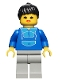 Minifig No: twn007  Name: Jogging Suit, Light Gray Legs, Black Ponytail Hair, Open Mouth