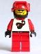 Minifig No: twn009  Name: Race - Driver, Red Scorpion, Black Helmet