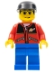 Minifig No: twn027  Name: Red Jacket with Zipper Pockets and Classic Space Logo, Blue Legs, Black Cap