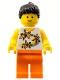Minifig No: twn062  Name: Yellow Flowers - Black Ponytail Hair, Orange Legs