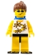 Minifig No: twn063a  Name: Yellow Flowers - Reddish Brown Ponytail Hair, Blue Airtanks, Black Flippers