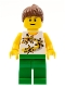 Minifig No: twn064  Name: Yellow Flowers - Reddish Brown Ponytail Hair, Green Legs