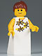 Minifig No: twn065  Name: Yellow Flowers - Reddish Brown Ponytail Hair, White Skirt