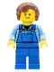 Minifig No: twn072  Name: Overalls with Tools in Pocket Blue, Reddish Brown Hair Female Short Curled Ends