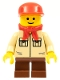 Minifig No: twn074  Name: Shirt with 2 Pockets No Collar, Reddish Brown Short Legs, Red Cap, Red Bandana (10185)