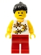 Minifig No: twn082  Name: Yellow Flowers - Black Ponytail Hair, Red Legs