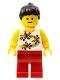 Minifig No: twn082  Name: Yellow Flowers - Black Ponytail Hair, Red Legs