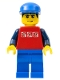 Minifig No: twn084  Name: Red Shirt with 3 Silver Logos, Dark Blue Arms, Blue Legs, Blue Cap