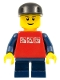 Minifig No: twn085  Name: Red Shirt with 3 Silver Logos, Dark Blue Arms, Dark Blue Short Legs, Black Cap