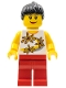 Minifig No: twn094  Name: Yellow Flowers - Black Ponytail Hair, Red Legs, Lipstick