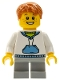 Minifig No: twn112  Name: White Hoodie with Blue Pockets, Light Bluish Gray Short Legs, Dark Orange Short Tousled Hair