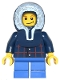 Minifig No: twn125  Name: Plaid Button Shirt, Blue Short Legs, Dark Blue Hood
