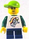 Minifig No: twn131  Name: Classic Space Minifigure Floating Pattern, Blue Short Legs, Lime Short Bill Cap