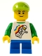 Minifig No: twn131a  Name: Classic Space Minifigure Floating Pattern, Blue Short Legs, Lime Short Bill Cap, Black Eyebrows