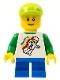 Minifig No: twn131b  Name: Classic Space Minifigure Floating Pattern, Blue Short Legs, Lime Short Bill Cap, Reddish Brown Eyebrows