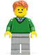 Minifig No: twn140  Name: Green V-Neck Sweater, Light Bluish Gray Legs, Dark Orange Short Tousled Hair