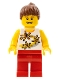 Minifig No: twn141  Name: Yellow Flowers - Reddish Brown Ponytail Hair, Red Legs