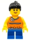 Minifig No: twn142  Name: Orange Halter Top with Medium Blue Trim and Flowers Pattern, Blue Short Legs, Black Ponytail Hair