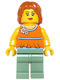 Minifig No: twn206  Name: Orange Halter Top with Medium Blue Trim and Flowers Pattern, Sand Green Legs, Dark Orange Hair