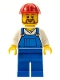 Minifig No: twn210  Name: Overalls Blue over V-Neck Shirt, Blue Legs, Red Construction Helmet, Beard