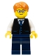 Minifig No: twn211a  Name: Black Vest with Blue Striped Tie, Dark Blue Legs, White Arms, Dark Orange Short Tousled Hair, Rounded Glasses